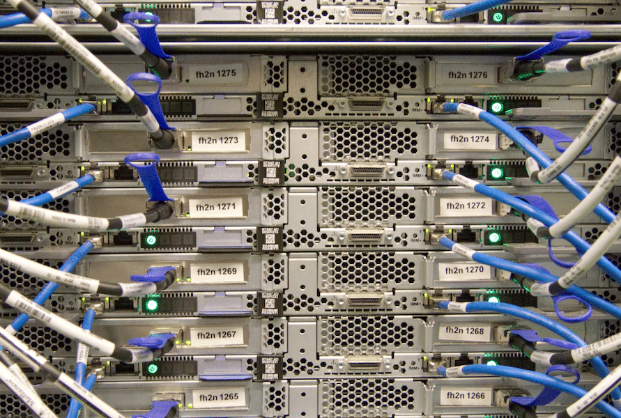 Server technology hardware showing cables plugged in